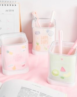 1Pcs Cute Cartoon Pink Animals Fruits Desk Acrylic Pen Holder Students Stationery School Office Supplies 010