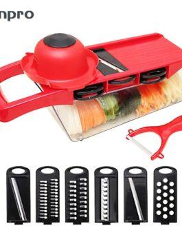 Anpro Vegetable Slicer Cutter with 6 Pcs Interchangeable Stainless Steel Spiralizer Vegetable Peeler Carrots Potatoes Slicer