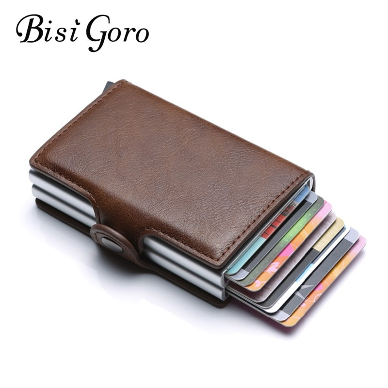 size 40 4007b 1ee55 BISI GORO Business Credit Card Holder Wallet Unisex Metal Blocking RFID  Wallet ID Card Case Aluminium Travel Purse