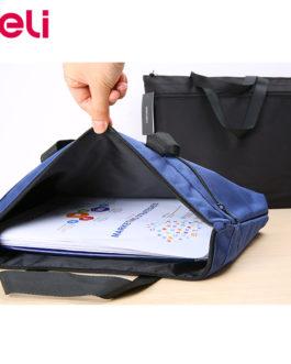 Deli 1pcs portable file bag A4 data storage bag zipper briefcase canvas multi layer business bag file bag