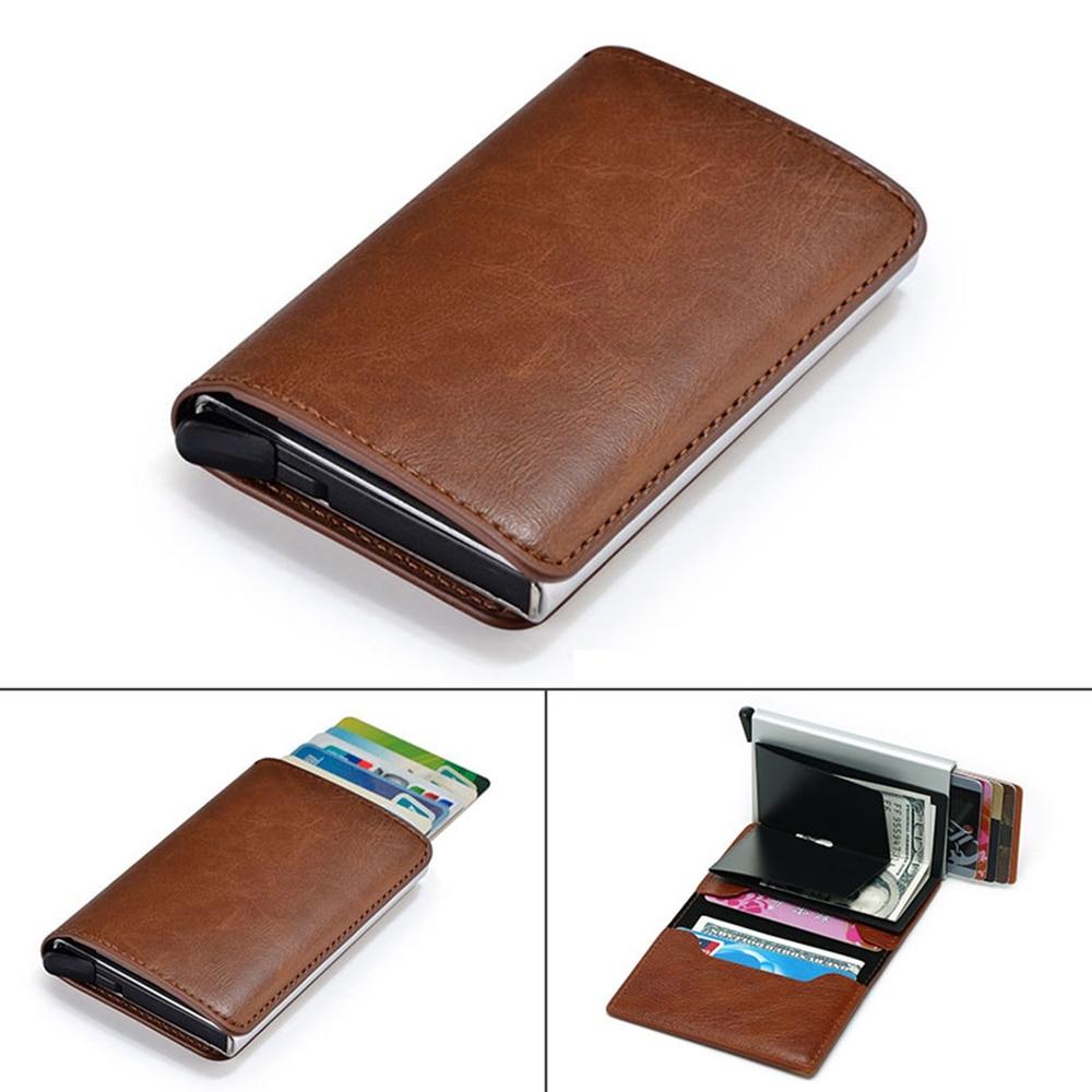 43a23b0e0610 Metal Credit Card Holder Automatic Elastic Vintage Aluminum Wallet PU  Leather Antitheft Rfid Blocking Wallet Pass Port Holder