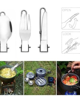 Portable Outdoor Travel Camping Picnic Stainless Utensil Set Foldable Knife/ Fork/ Spoon 3 in 1 Kit Camping Picnic Tableware