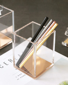 Acrylic Clear Pen Holder with Soft Wooden Non-slip Mat Bottom Multifuction Makeup Brush Organizer Home Office Tools Pencil Cases